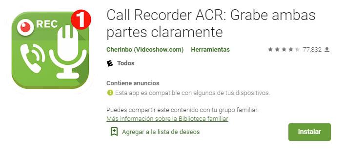 Call Recorder ACR: Grabe ambas partes claramente una aplicaciones para grabar llamadas