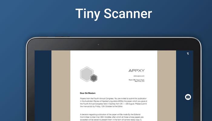 Tiny Scanner aplicacion para escanear documentos