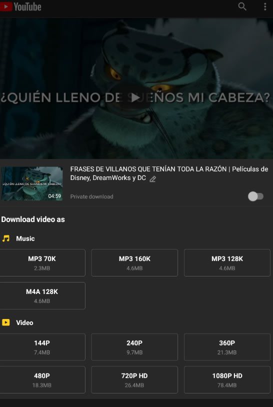 descargar musica de youtube con Snaptube