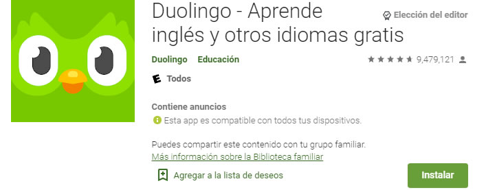 Duolingo Aplicacion educativa para aprender ingles