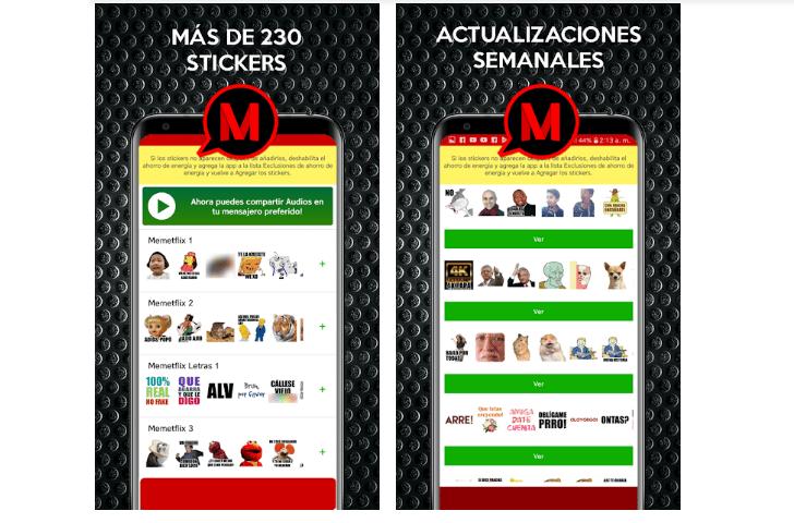 Memetflix, Aplicaciones para descargar Stickers